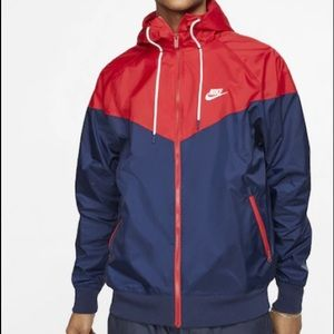 red and navy blue windbreaker hoodie